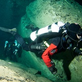 Trimix divers at the bottom of Kilsby's Sinkhole