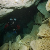 Diving inside Pines Cave